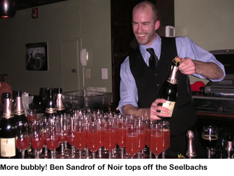 Ben Sandrof at champagne cocktail party