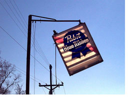 Pabst sign hanging by a thread