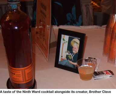 A photo of Brother Cleve with his cocktail, the Ninth Ward