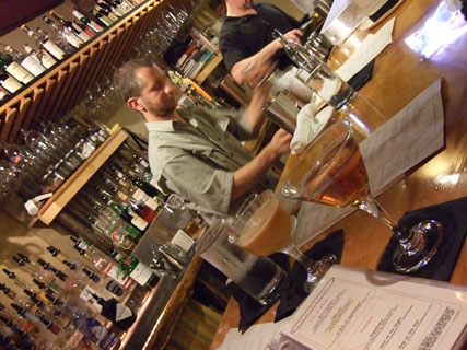 Bartender Jeff Grdinich at the White Mountain Cider Co.