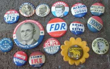 Old campaign buttons