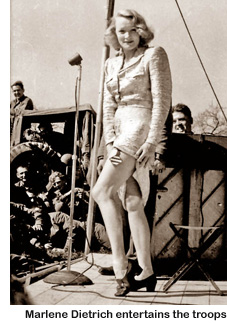 Marlene Dietrich at a USO show