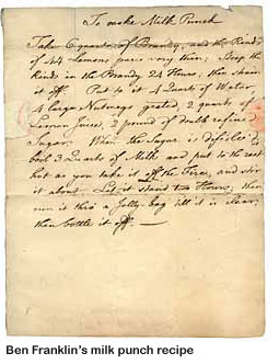 Ben Franklin's milk punch recipe