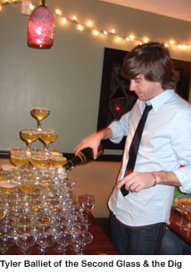 Tyler Balliet and the champagne tower