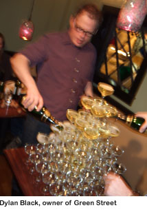 Dylan Black and the champagne tower