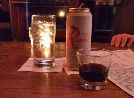Nightcap at Cassidy's: Fernet with a Rainier back.